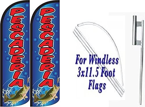 Pescaderia Windless Swooper Feather Flag Sign Kits With Pole and Ground Spikes Pack of 2