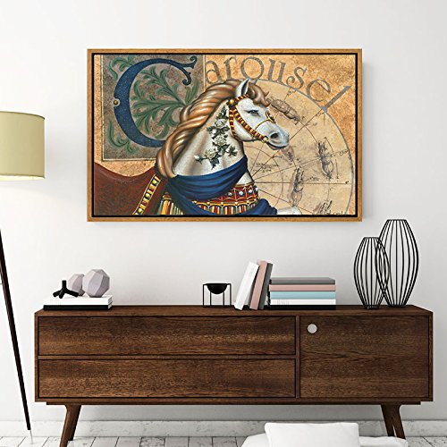 Paintsh Battle Horse Europe and The United States Study Dining Room Living Room Decorative Painting Entrance Murals Office Paintings Art, 120 80Cm (37Mm Thick) Retro Gold Frame, Dt-004A from Paintsh