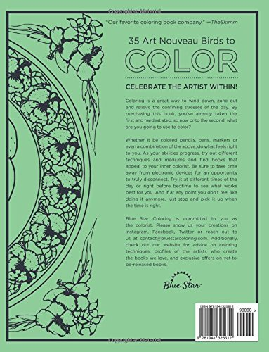 Artists Colouring Book Art Nouveau : Amazon.com: art nouveau birds: a stress relieving adult coloring
