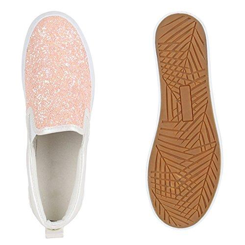 Stiefelparadies Damen Sneaker Slip Ons mit Plateau Glitzer Flandell Rosa Weiss Plateau