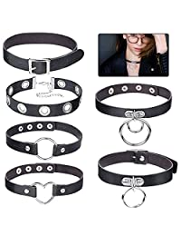 6 PCS Black Leather Choker Neklace O Ring Vintage Gothic Punk Choker Fancy Dress Rock Choker PU Leather Spiked Choker Collar for Women Men Accessory