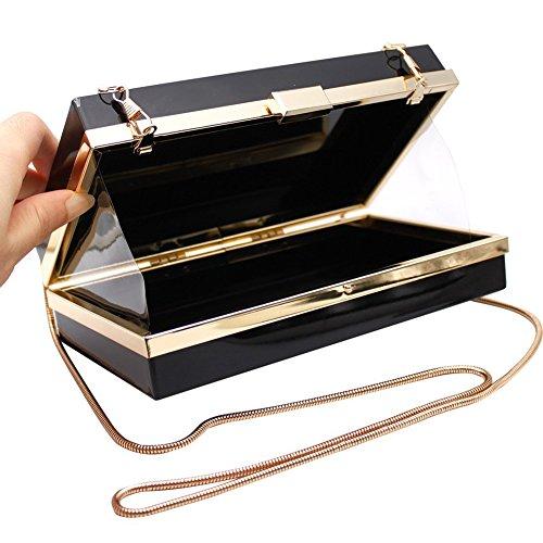 Mujer Jelly bolso noche bolso bolso bandolera bolso de mano de acrílico transparente caja de almacenaje embrague bolsa–regalo Ideal Azul
