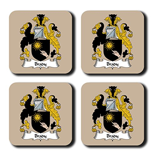 Brady Coat of Arms/Family Crest Coaster Set, by Carpe Diem Designs – Made in the U.S.A. -