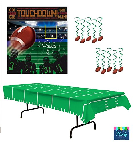 Football Party Supplies - Football Party Decorations: Large Scene Setter, Hanging Swirls & Table (Football Swirl Decorations)