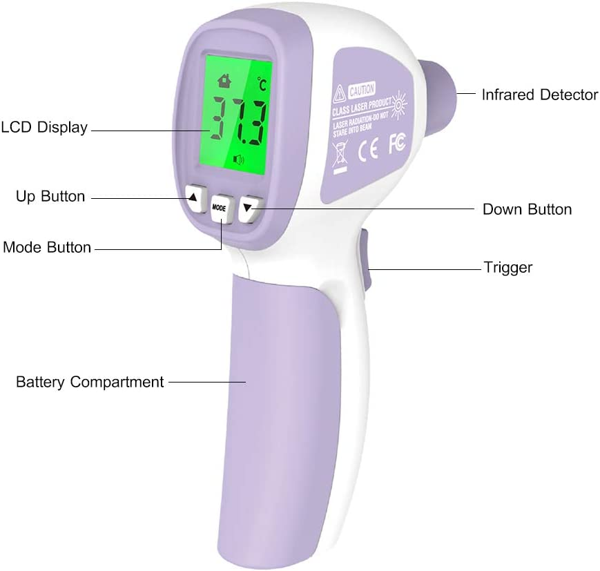 Adults Infrared Thermometer Objects with LCD display Abody Non Contact baby forehead thermometer Accurate Instant Reading for Children