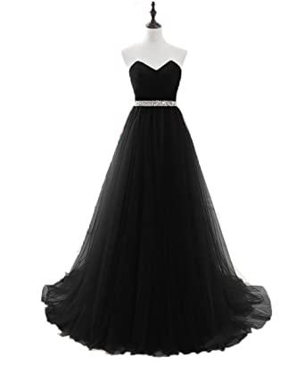 Promworld Womens Sweetheart Beading Soft Tulle Prom Dress Long Evening Gowns Black US2
