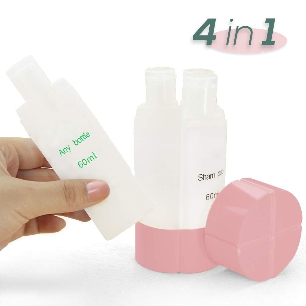 Galaxer 4 in 1 Reise Flaschen Set 60ml *4 Flug Kosmetikflaschen Dichtigkeit PP Luftflaschen Tragbare Klare Toilettenartikel Flüssigkeitsbehälter für Shampoo Kosmetik Make-up (Blue)