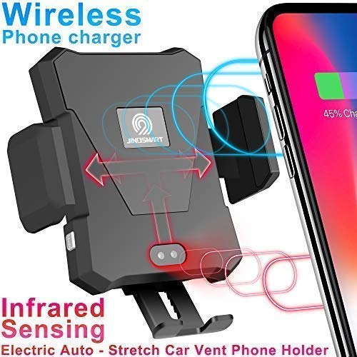 Wireless Car Charger Air Vent Mount[Infrared-Sensing][10W Fast Charging] Car Phone Holder Compatible for Samsung Galaxy Note9 S9 S8 Plus,iPhone X/XR/XS Max,QI-Enabled Phone
