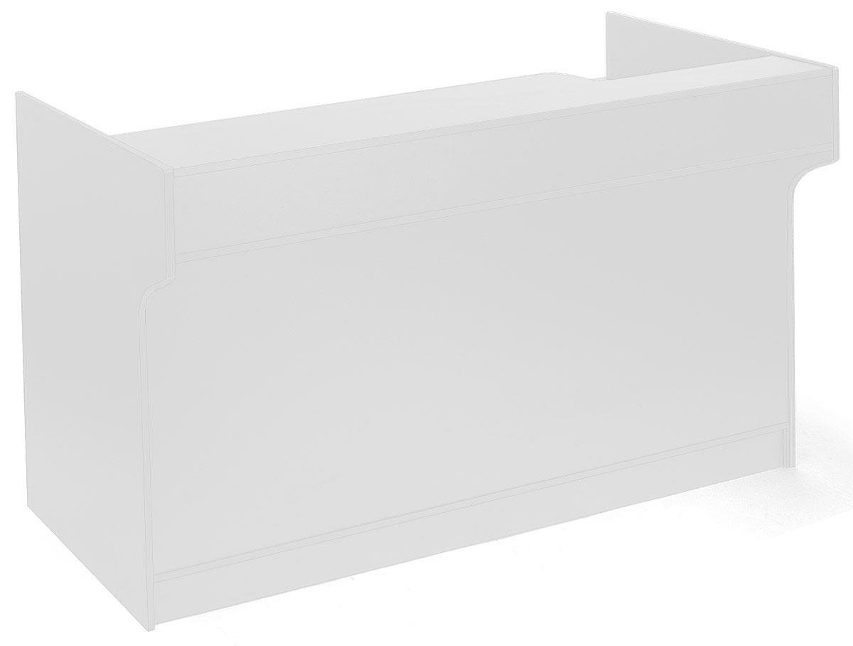 Displays2go 72 Inch Checkout Counter, Adjustable Shelves, Drawer, Elevated Ledge - White (MRCLT72WH)