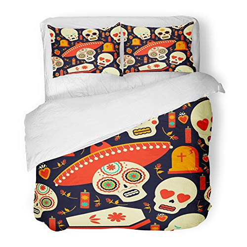 Emvency 3 Piece Duvet Cover Set Brushed Microfiber Fabric Breathable Mexican Sugar Skull Emoji with Traditional Includes Mariachi Hat Flower Bedding Set with 2 Pillow Covers King Size ()
