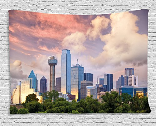 Ambesonne United States Tapestry, Dallas City Skyline at Sunset Clouds Texas Highrise Skyscrapers Landmark, Wall Hanging for Bedroom Living Room Dorm, 60 W X 40 L Inches, Multicolor ()