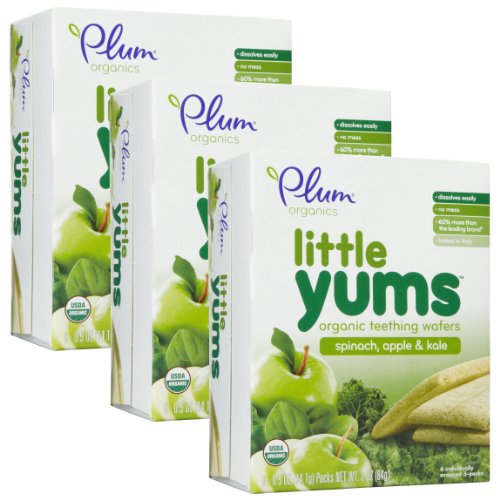 Plum Organics Little Yums Teething Wafers, Spinach Apple Kale, 3 Ounce (Pack of 3)