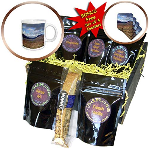 3dRose Jos Fauxtographee- Ireland Landscape - A hilly Ireland landscape with blues and tans - Coffee Gift Baskets - Coffee Gift Basket (cgb_292584_1)