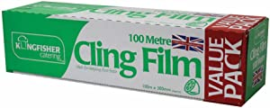 Kingfisher 100m x 300mm Catering Kitchen Clear Cling Film Food Plastic Large Wrapping, 21.5 x 4.5 x 15 cm, Transparent