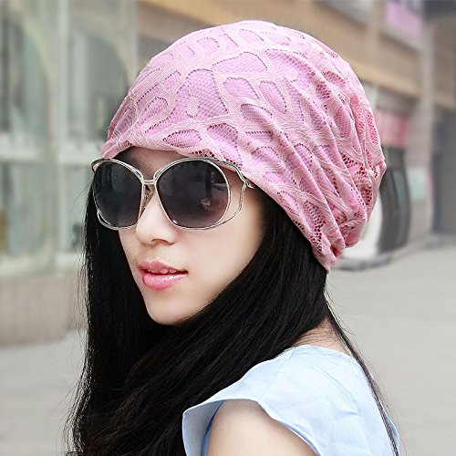 The Korean version of the breathable cap children thin lace turban,Ms.Cap Baotou cap pile cap head shaved his hat,packet headers are code(55-60cm resilient),Pink