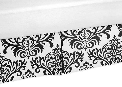 Black and White Isabella Bed Skirt for Toddler Bedding Sets