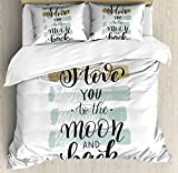 I Love You Duvet Cover Set King Size by Ambesonne, I Love You to the Moon and Back Phrase with Soft Paintbrush Stripes, Decorative 3 Piece Bedding Set with 2 Pillow Shams, Blue Grey Pale Caramel