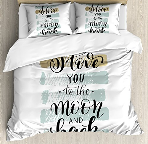 Ambesonne I Love You Duvet Cover Set King Size, I Love You to the Moon and Back Valentine's Phrase with Stripes, Decorative 3 Piece Bedding Set with 2 Pillow Shams, Blue Grey Pale Caramel,