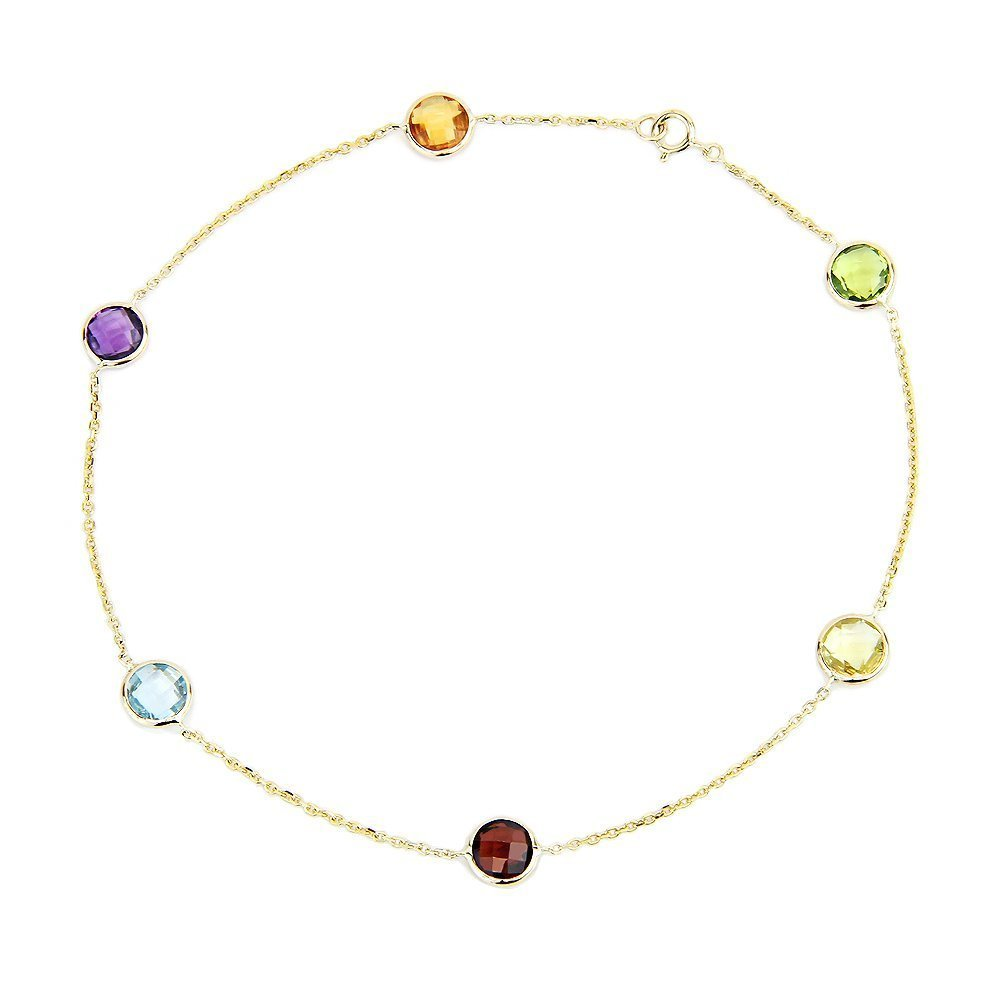 14k Yellow Gold Anklet Bracelet With 6mm Fancy Cut Round Gemstones 9 - 11 Inches by amazinite