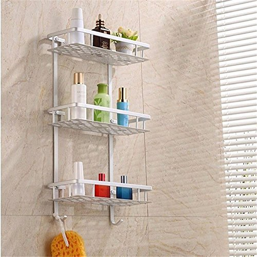Tuersuer Easy to Assemble Bathroom Shelf Hollow Out Aluminium Bathroom Kitchen Storage Rack Commodity Shelf Sundries Holder (Color : 3 Layer)