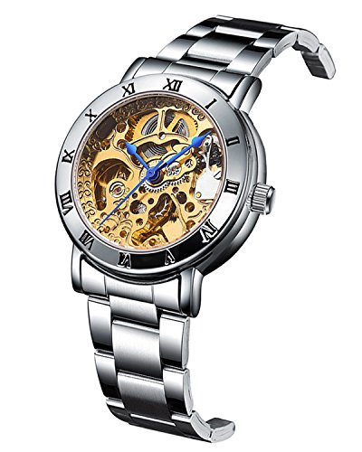 GuTe Women Automatic Watch,Minimalist Steampunk Gold-Tone Movt Stainless Steel Bracelet Watch