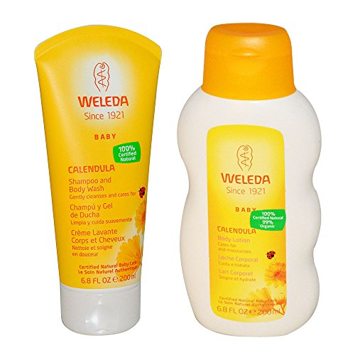 Weleda All Natural Organic Calendula and Almond Gentle Baby Shampoo & Baby Wash and Baby Lotion Bundle With Chamomile and Cocoa Butter for Extra Moisture, Organic Ingredients, 6.8 fl. oz. each by Weleda