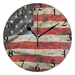 Dozili Retro American Flag (2) Round Wall Clock Arabic Numerals Design Non Ticking Wall Clock Large for Bedrooms,Living Room,Bathroom