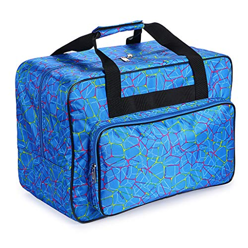 (BTSKY Sewing Machine Carrying Case, Universal Sewing Machine Tote, Travel Tote Bag for Most Standard Sewing Machines and Accessories with Pockets and Handles(Blue))