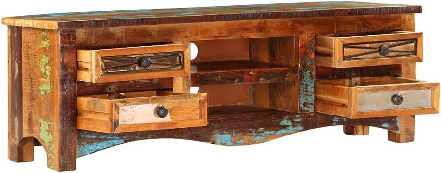 Festnight Mueble para TV Madera Maciza de Reciclada, con 2 Compartimentos y 4 Cajones, 120x30x40 cm: Amazon.es: Hogar