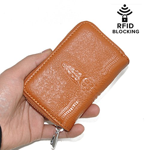 Volcanic Rock RFID Blocking Crocodile Pattern Genuine Leather Credit Card Case Wallet for Men and Women (Brown)