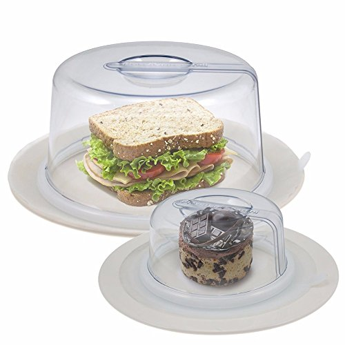 2 Clear PlateTopper (Mini & Tall) Universal Leftover Lid Microwave Cover Airtight from Unknown