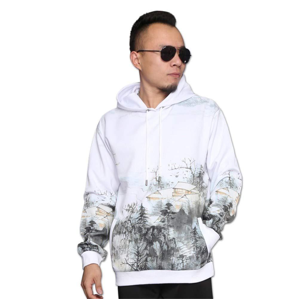 LLRCAZR Hoodie Chinesischen Stil Tinte Malerei Landschaft Männer Langarm Rundhals Pullover Plus Samt Basislack Mantel Persönlichkeit Druck