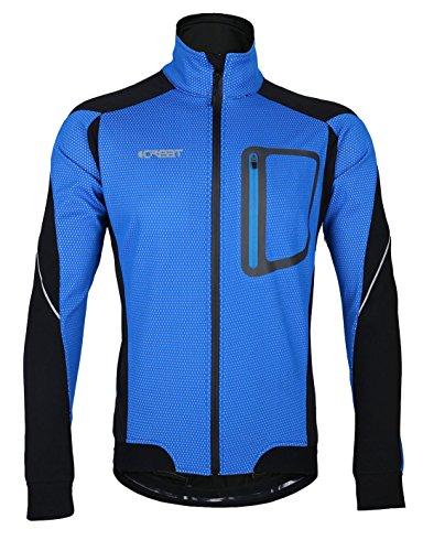 iCreat Herren Jacke Air Jacket Winddichte Wasserdichte Lauf- Fahrradjacke MTB Mountainbike Jacket Visible reflektierend, Fleece Warm Jacket für Herbst, Blau Gr.L