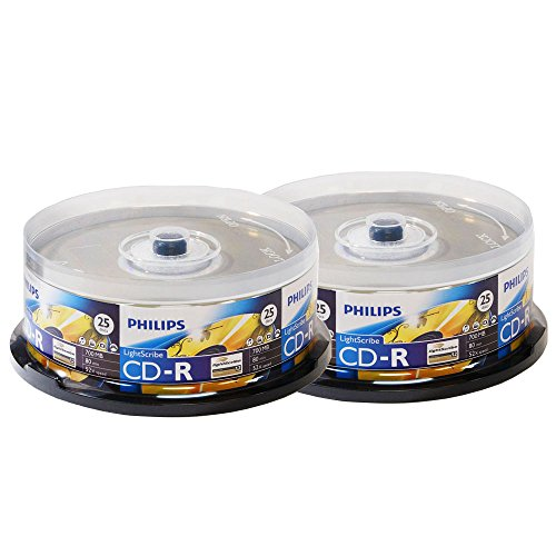 Philips Lightscribe Blank Media Disc CD-R 52X Speed / 700MB / 80min - 50PK Cake Box by Produplicator