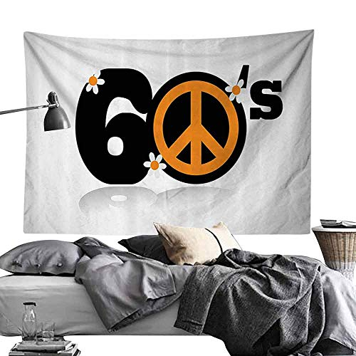 Homrkey Decorative Tapestry 1960s Decorations Collection Sixties Peace Symbol Numbers Equality Historic Revolution Peaceful Daisy Luck Utopia Design Wall Hanging W60 x L40 Black