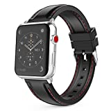 MoKo Band for Apple Watch Series 3 Bands, Soft Silicone Replacement Sports Band with Stitching for iWatch 42mm 2017 series 3 / 2 / 1, BLACK (Not fit 38mm Versions)