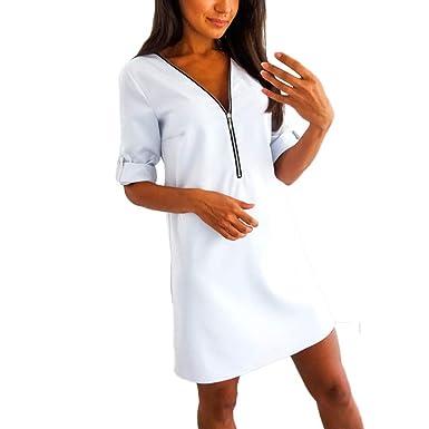 Innerternet Abito Donna Invernali Eleganti Moda Manica Lunga Vestito da  Sera Casual Allentato con Cerniera a V Dress  Amazon.it  Abbigliamento e2161d69e27
