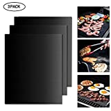 Aolvo Black Grill Mats Set of 3, Healthy BBQ Grilling Grill Baking Mats Pads Sheets Liner - 100% Non Stick, Reusable, PFOA Free. Oven Roaster Toaster Liner for Gas Charcoal Electric Grills