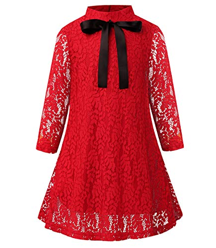SPEINY Girls' Christmas Dresses Red Vintage Long Sleeve A-line Clothing 7-8 -