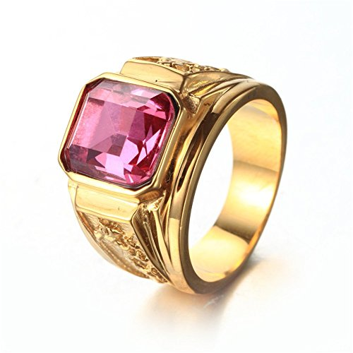 (PAMTIER Men's Stainless Steel Dragon Pattern Simple Square Gemstone Rings Band Gold Pink Size 10)