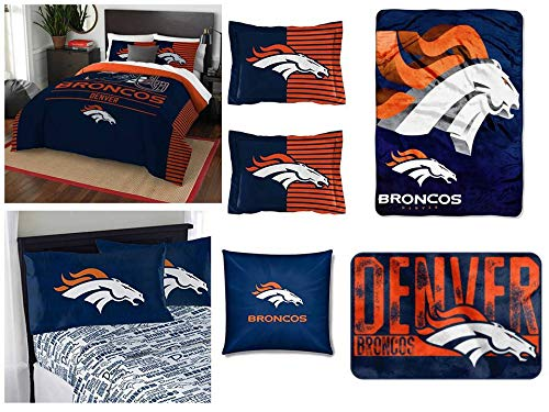 Northwest NFL Denver Broncos Ultimate 10pc Ensemble: Includes Full/Queen Comforter, 2 Shams, Full Flat Sheet, Full Fitted Sheet, 2 Pillowcases, Rug, toss Pillow, and Oversized Throw