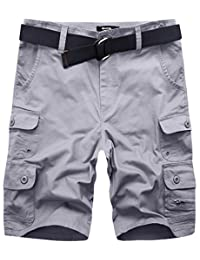 Wantdo Men's Summer Belted Cotton Work Shorts Loose Fit Cargo Shorts