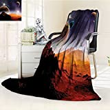 YOYI-HOME Duplex Printed Blanket Warm Microfiber Earth and Cosmos Fantasy Decor Solar Sky Nebula Orbit Comet Horizon System for Bed or Couch/W69 x H47