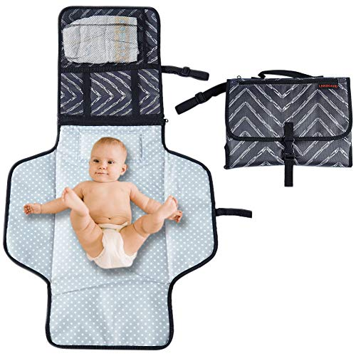 Portable Changing Mat Cushioned Diaper Changing Pad with Built-in Pillow Waterproof Baby Travel Changing Station Lightweight Extra Large Mat for Baby and Toddler