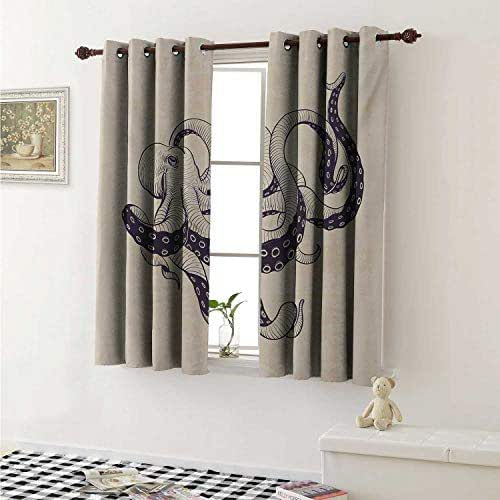 Octopus Blackout Draperies for Bedroom Hand Drawn Style Animal Illustration with Grunge Effect and Antique Style Curtains Kitchen Valance W72 x L63 Inch Eggplant and Beige