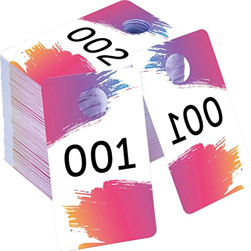 Mudder Live Sale Number Tags 100 Pieces Plastic Coat Check Numbers with Normal and Backward Numbers 100 Consecutive Numbers (001-100) ()