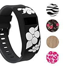 Fitbit Charge/HR Band Sock - More Styled and Super Cute - Fitbit Charge/Fitbit Charge HR Silicone Secure Band Cover Accessory with Different Colors and Patterns - Personalize Fitbit Charge/HR Wristband (White Flower x1)
