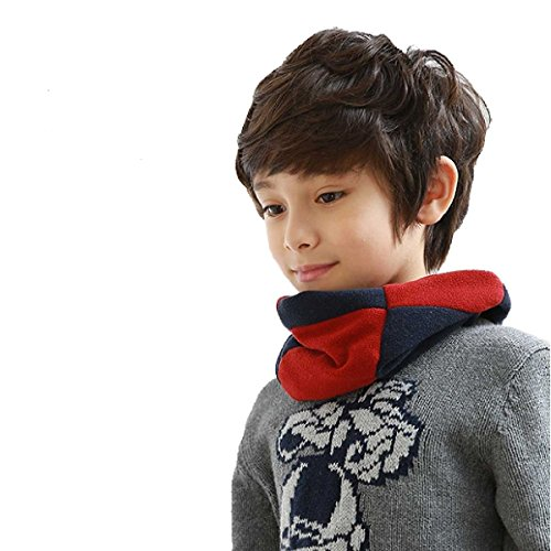 Triwonder Kids Winter Warm Scarf Thick Infinity Circle Loop Scarf Neck Warmer for 2-12 Years Old Boys Girls (Navy Blue)