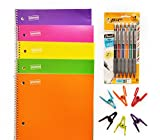Staples Spiral One Subject College Ruled Color Notebooks Pack (5) Bundle with BIC Mechanical Pencil and Multi Purpose Clips for Back to School, Elementary, High School and College Supplies