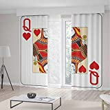iPrint Queen Blackout Curtains,Queen Hearts Playing Card Casino Decor Gambling Game Poker Blackjack Deck,Living Room Bedroom Curtain 2 Panels Set,104 W 95 L,Red Yellow White